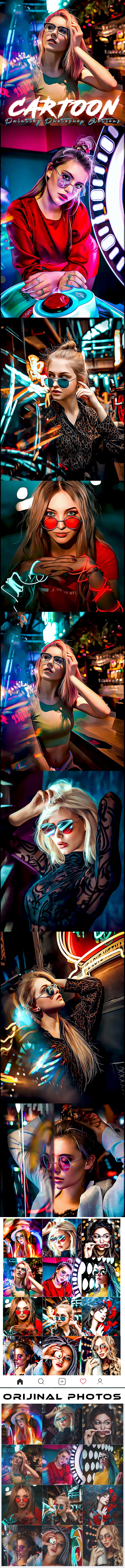 Cartoon Painting Photoshop Actions - Photo Effects Actions