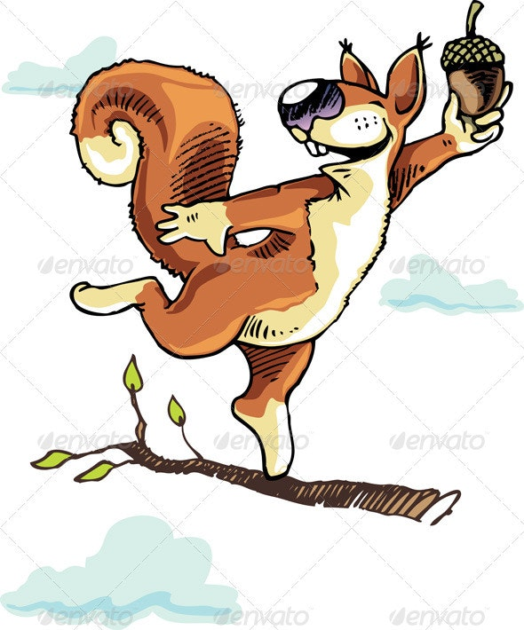 Squirrel and the Acorn - Characters Vectors