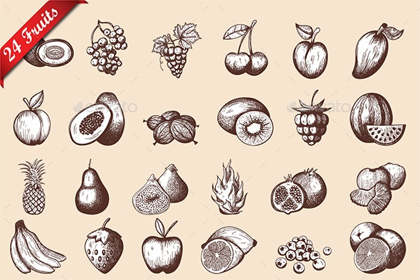 24 Fruits Hand Drawn Sketch - Food Objects