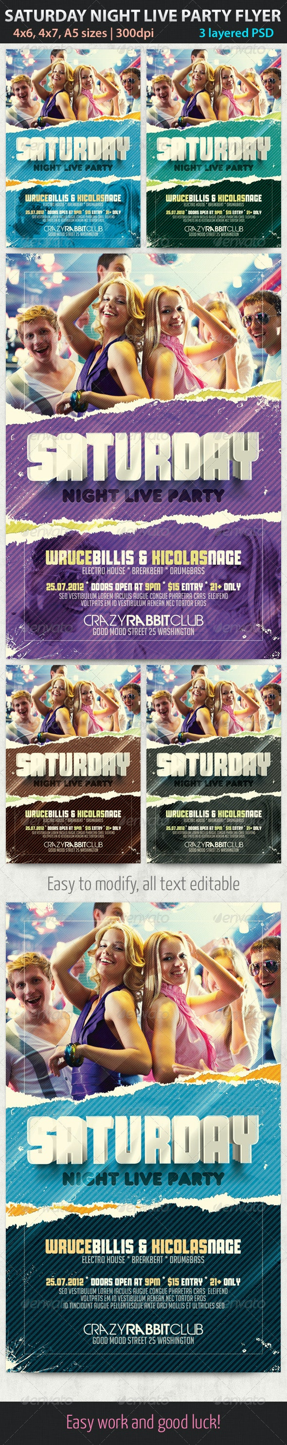 Saturday Night Live Party Flyer - Clubs & Parties Events