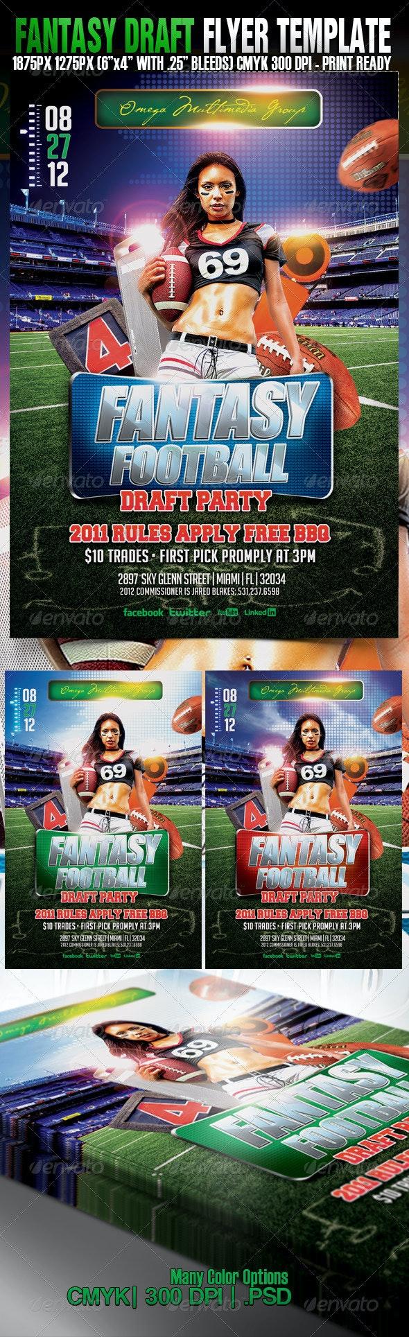 Fantasy Draft Football Party - Events Flyers