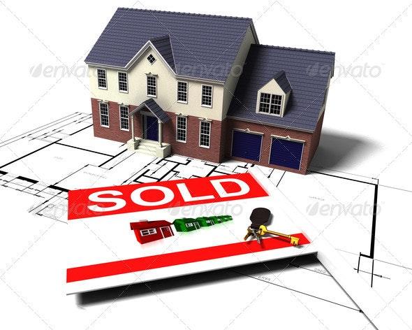 House on blueprints - Architecture 3D Renders