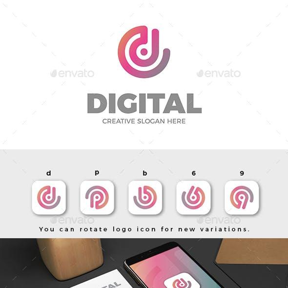 D Letter Abstract Digital Logo