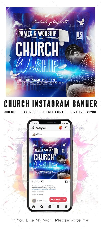 Praise Worship Church Instagram Banner - Banners & Ads Web Elements