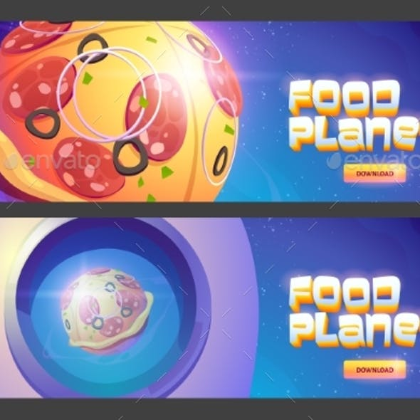 Food Planets Cartoon Web Banners with Space Pizza