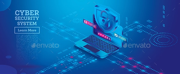 Neon Cyber Security Concept. Isometric Illustration in Blue Color. - Technology Conceptual