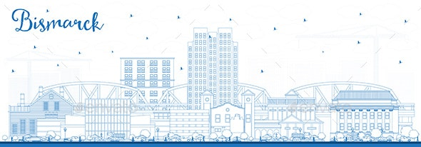 Outline Bismarck North Dakota City Skyline with Blue Buildings. - Buildings Objects