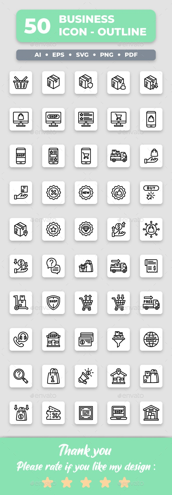Ecommerce - Outline Collection Icon Set - Business Icons
