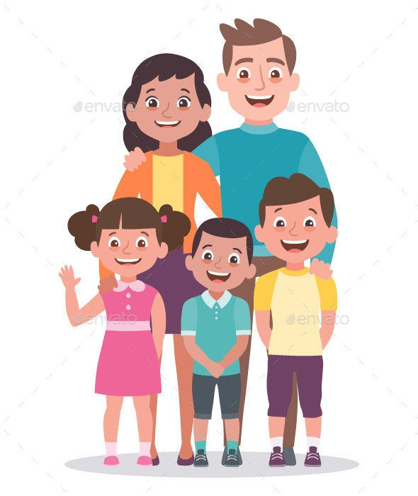 Family portrait. Parents with a girl and two boys. - People Characters