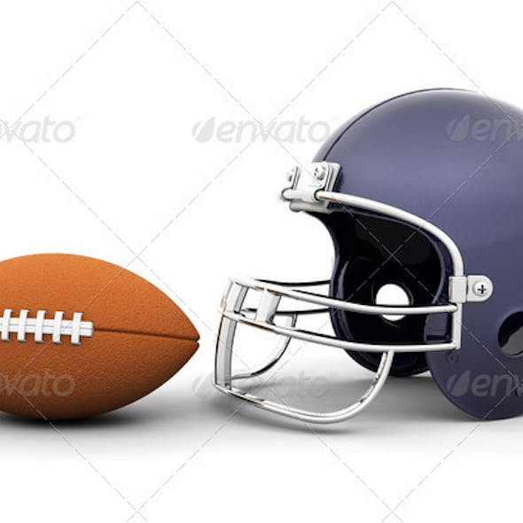 Helmet and football