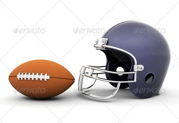 Helmet and football - Objects 3D Renders
