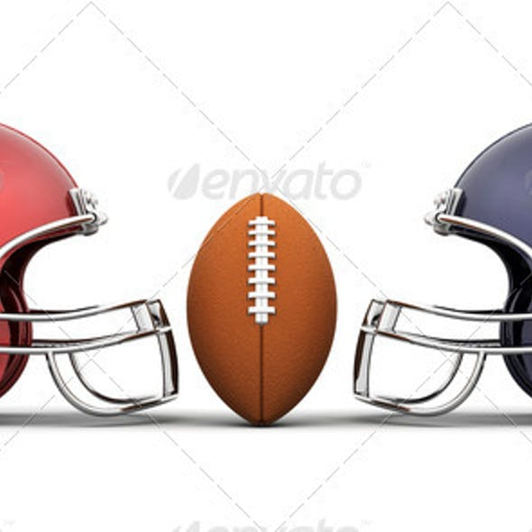 Football and helmets