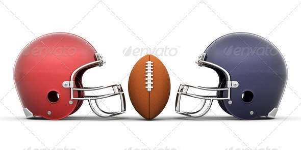 Football and helmets - Objects 3D Renders
