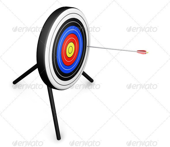 Arrow hitting the target - Objects 3D Renders