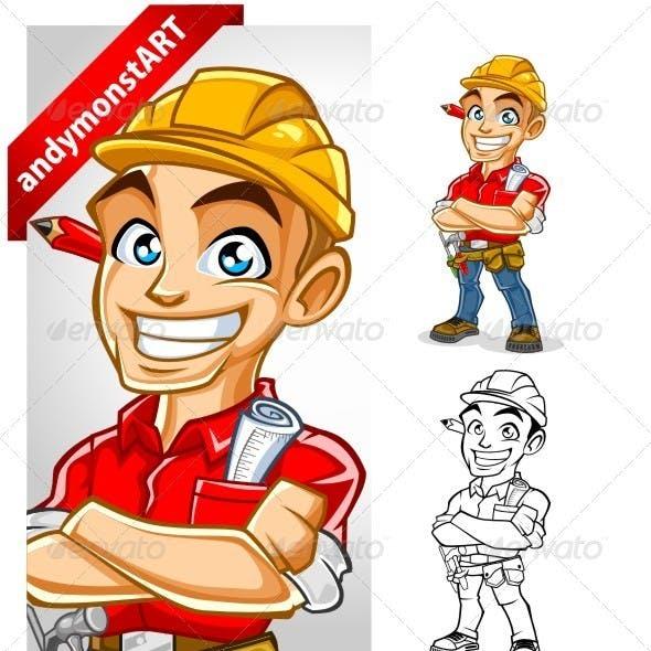 Construction Worker Mascot Set