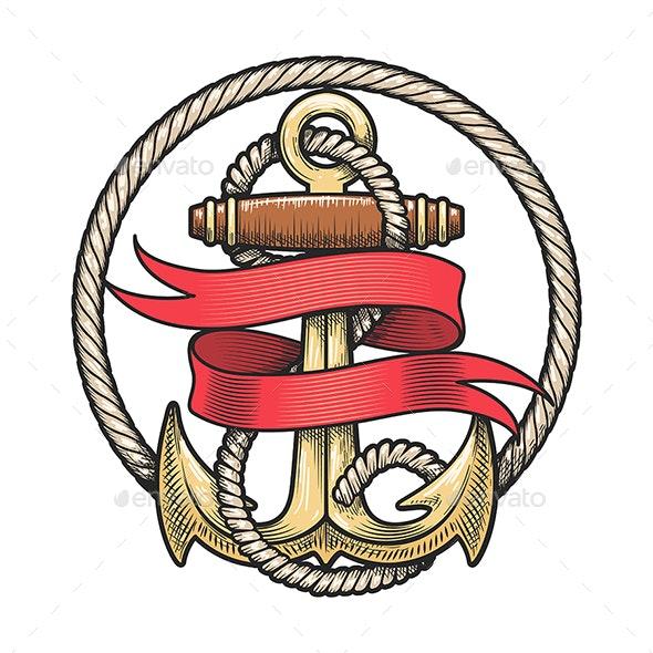 Nautical Emblem of Anchor and Red Ribbon - Tattoos Vectors