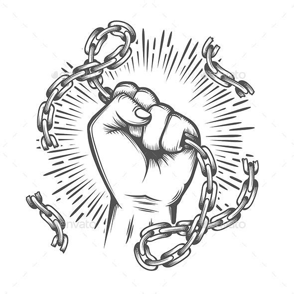 Human Fist with Broken Chain Tattoo - Tattoos Vectors