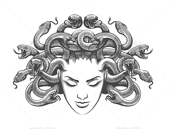 Medusa Drawn in Tattoo Style - Tattoos Vectors