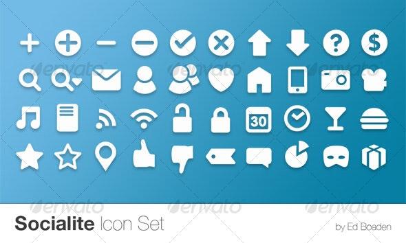 Socialite Icon Set (40 Vector Icons) - Web Icons