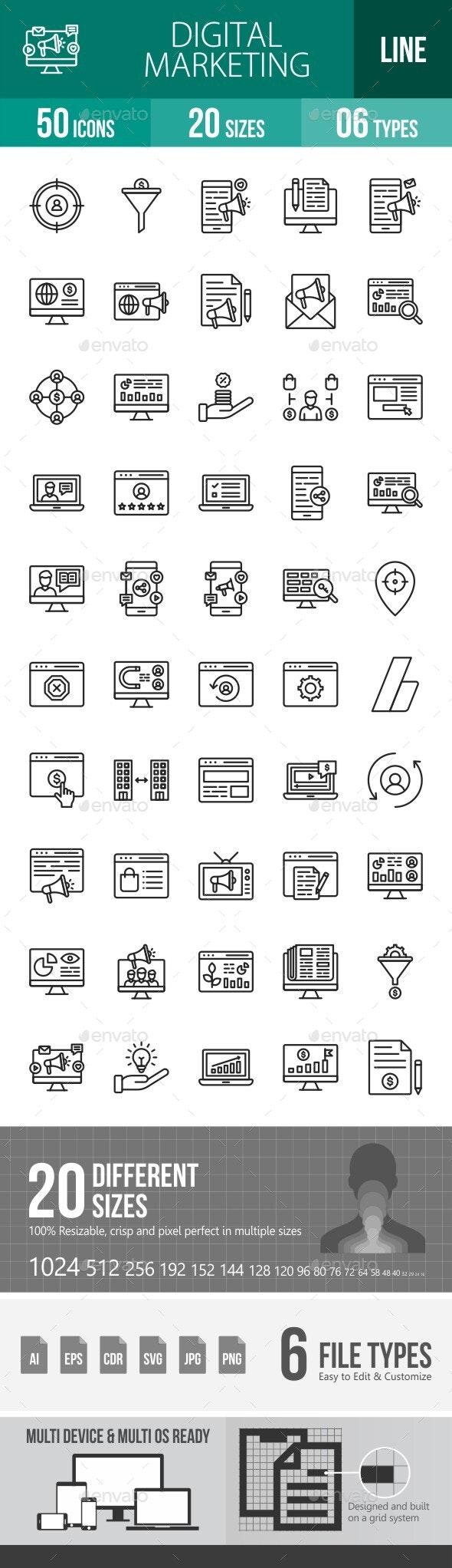 Digital Marketing Line Icons - Icons