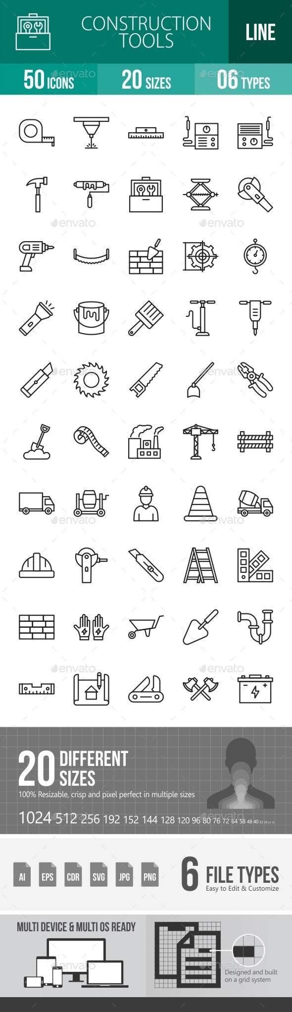 Construction Tools Line Icons - Icons