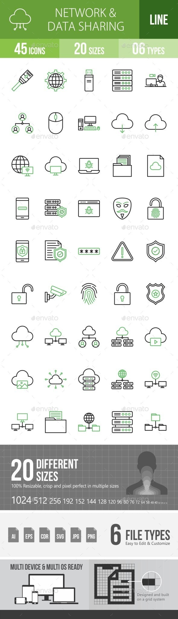 Network and Data Sharing Line Green & Black Icons - Icons