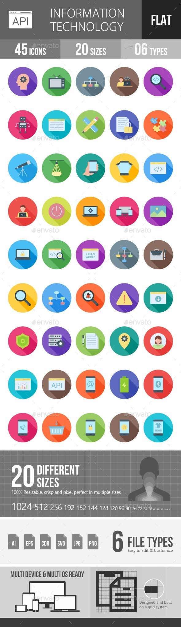 Information Technology Flat Long Shadow Icons - Icons