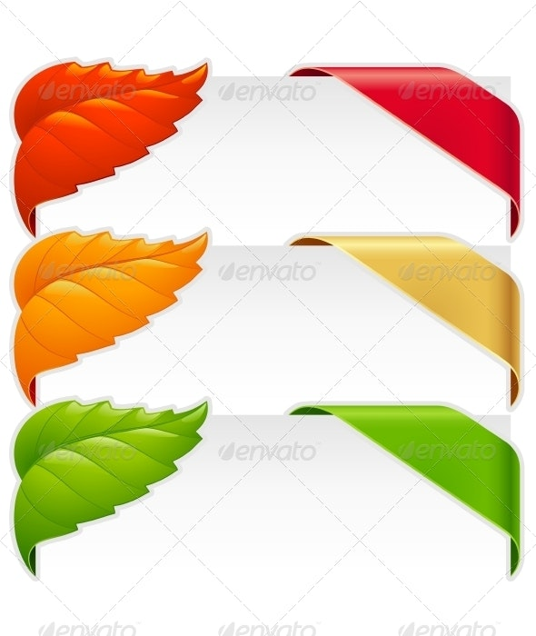Corner ribbons vector set for a new, sale and sold - Borders Decorative