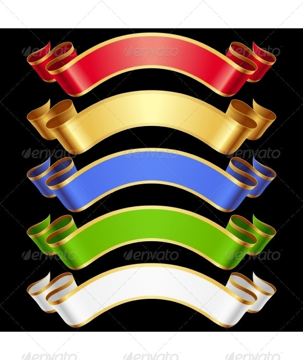 Vector Ribbons set. Multicolored banners isolated  - Decorative Symbols Decorative