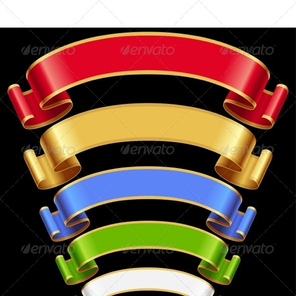 Vector Ribbons set. Multicolored banners isolated