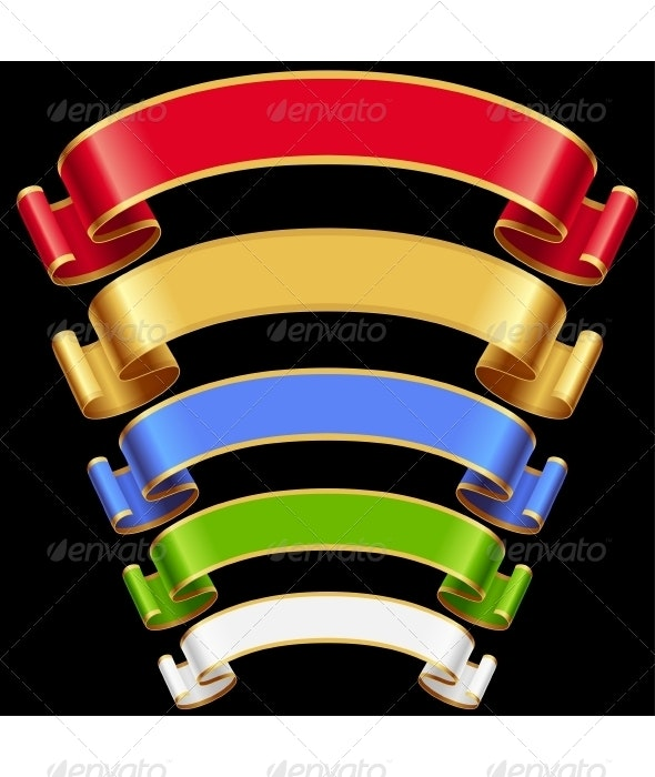 Vector Ribbons set. Multicolored banners isolated  - Borders Decorative