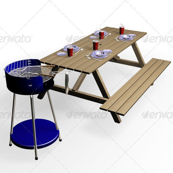 Barbecue with bench