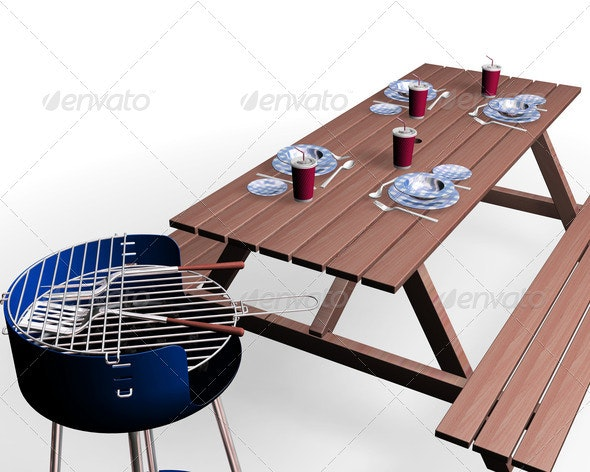 Barbecue items - Objects 3D Renders