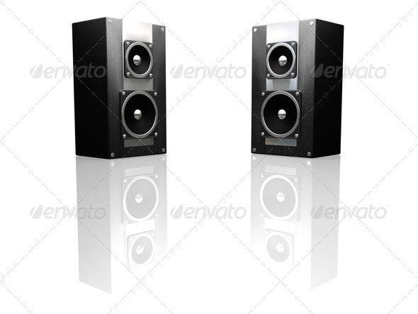Black speakers - Technology 3D Renders