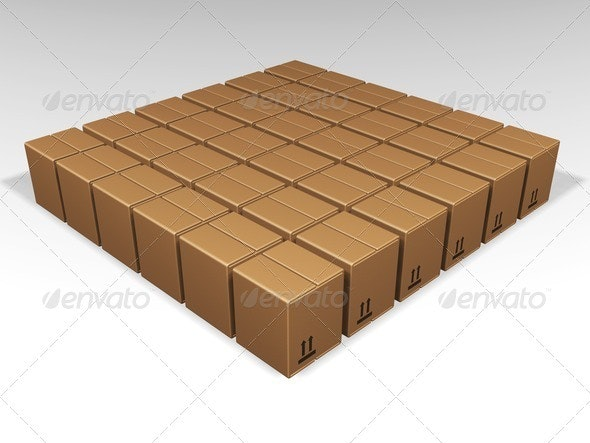 Brown boxes - Objects 3D Renders