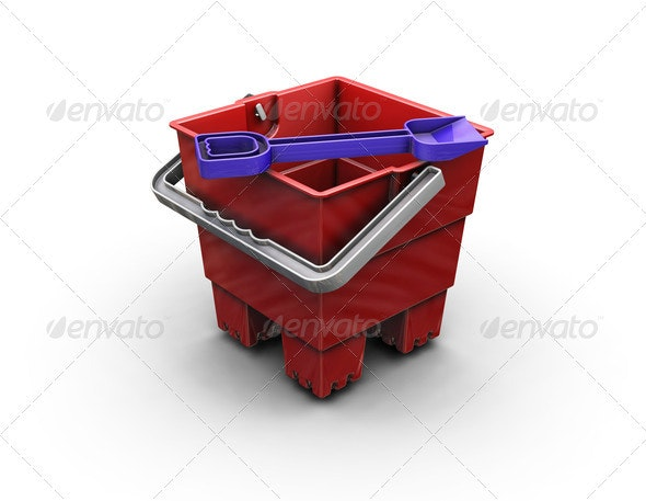 Bucket and spade - Objects 3D Renders