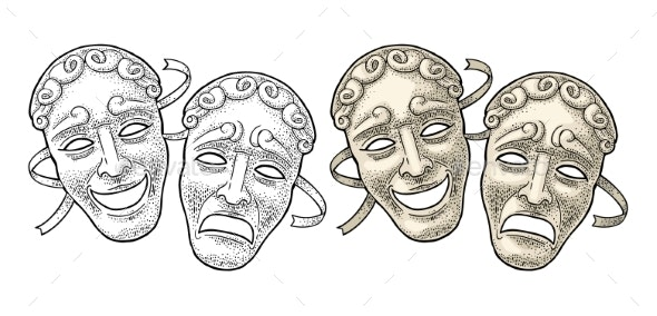 Comedy and Tragedy Theater Masks - Food Objects