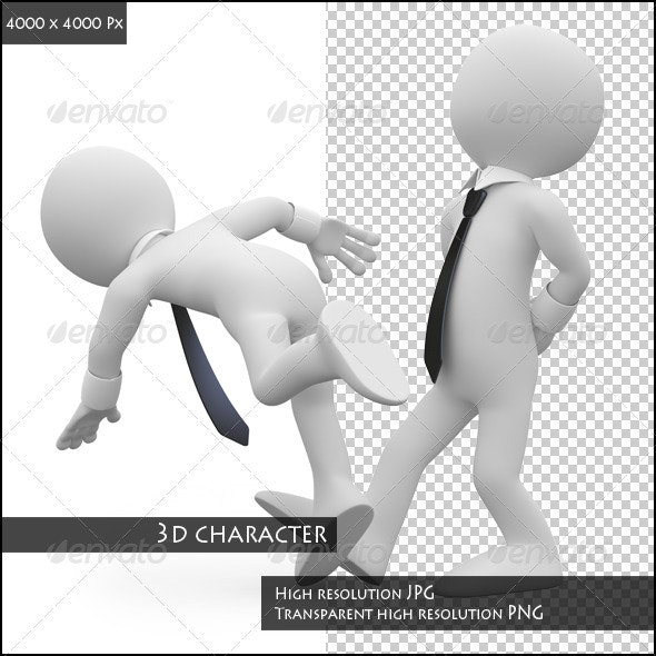 Businessman Tripping to a Workmate - Characters 3D Renders