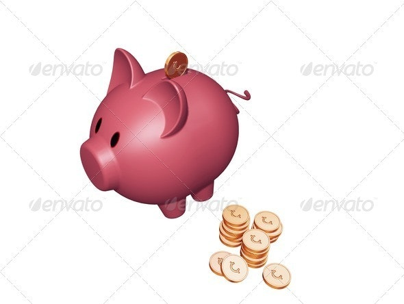 Piggy bank with cents - Objects 3D Renders