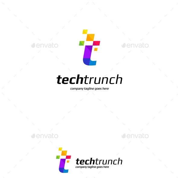 Letter T technology logo template