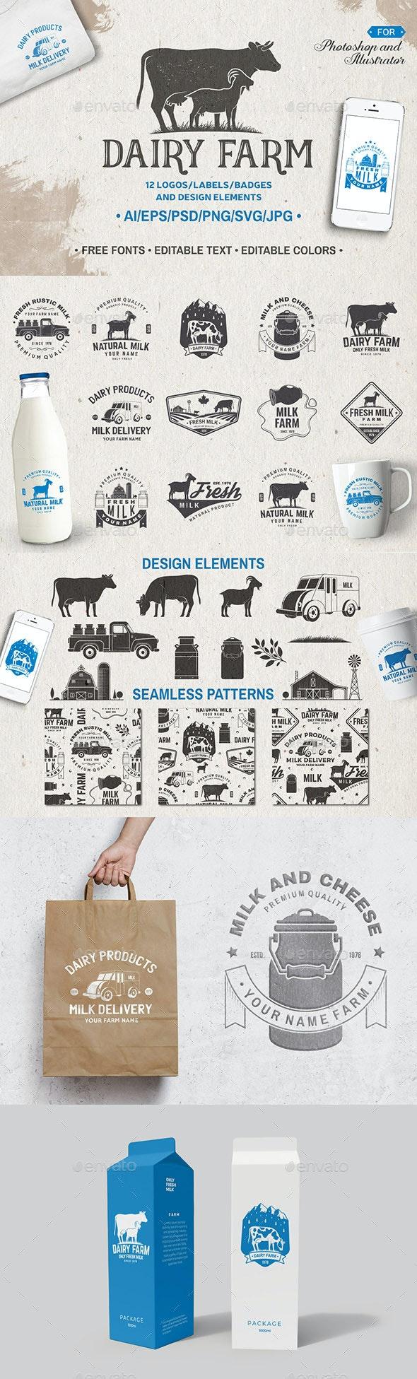 Dairy Farm - Badges & Stickers Web Elements