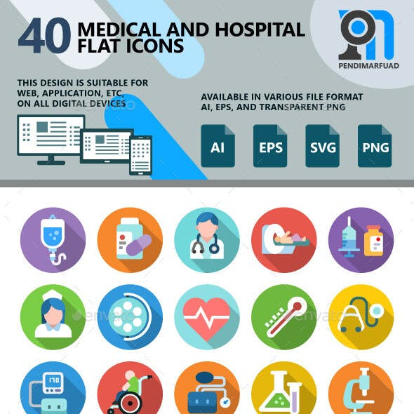 40 Medical and Hospital Flat Icons