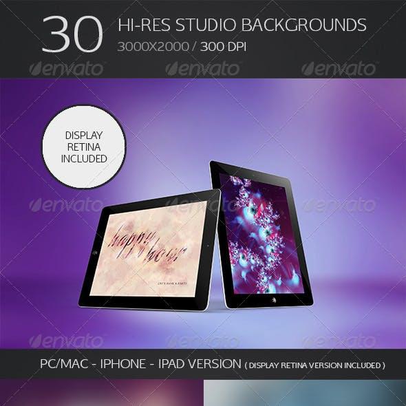 30 Hi-Res Studio Backgrounds - Retina Bonus