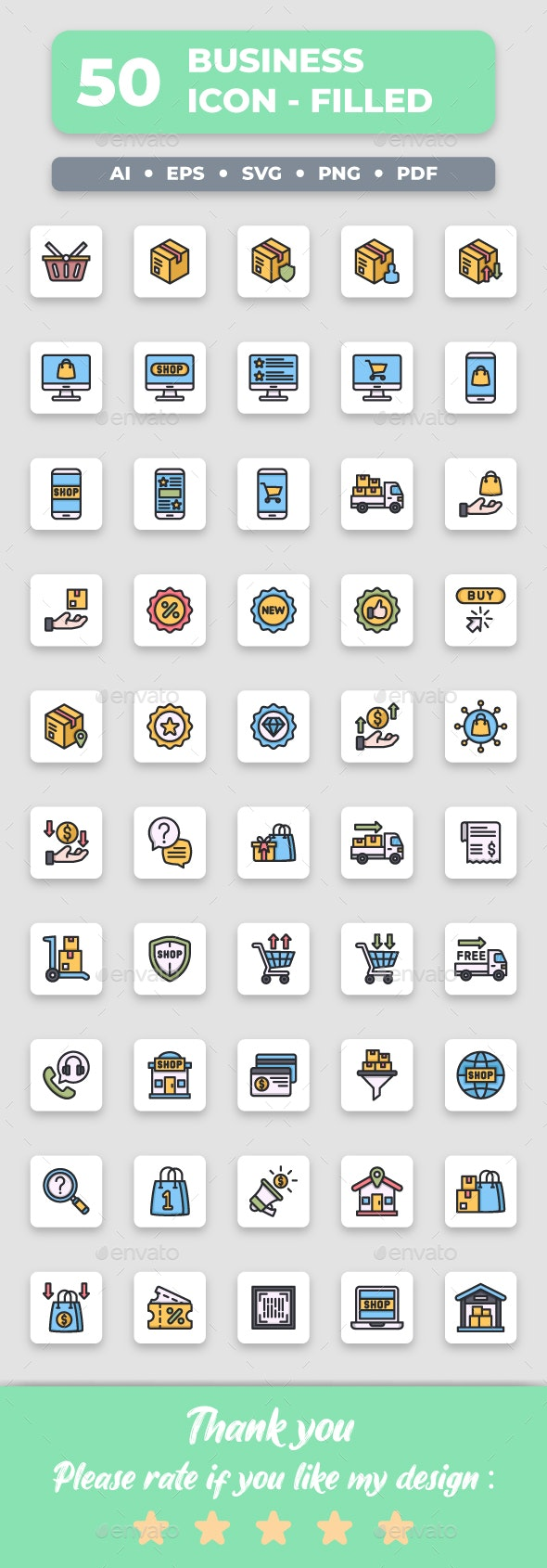 Ecommerce - Filled Collection Icon Set - Business Icons