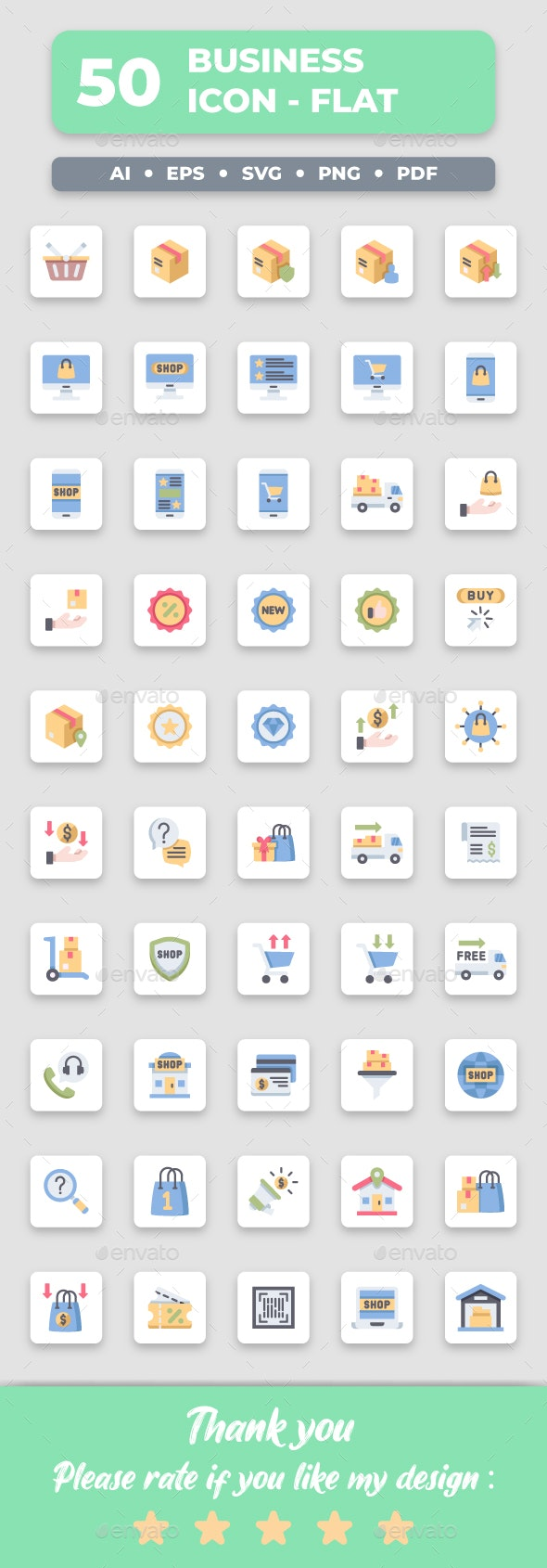 Ecommerce - Flat Collection Icon Set - Business Icons