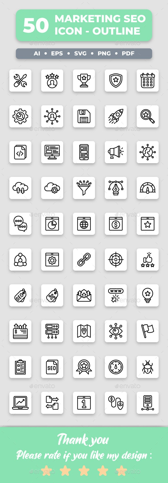 Marketing & SEO - Outline Collection Icon Set - Web Icons