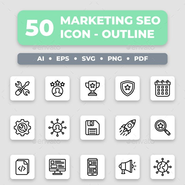 Marketing & SEO - Outline Collection Icon Set
