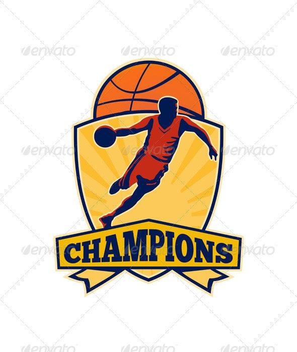 Basketball Player Dribbling Ball Shield Retro - Sports/Activity Conceptual