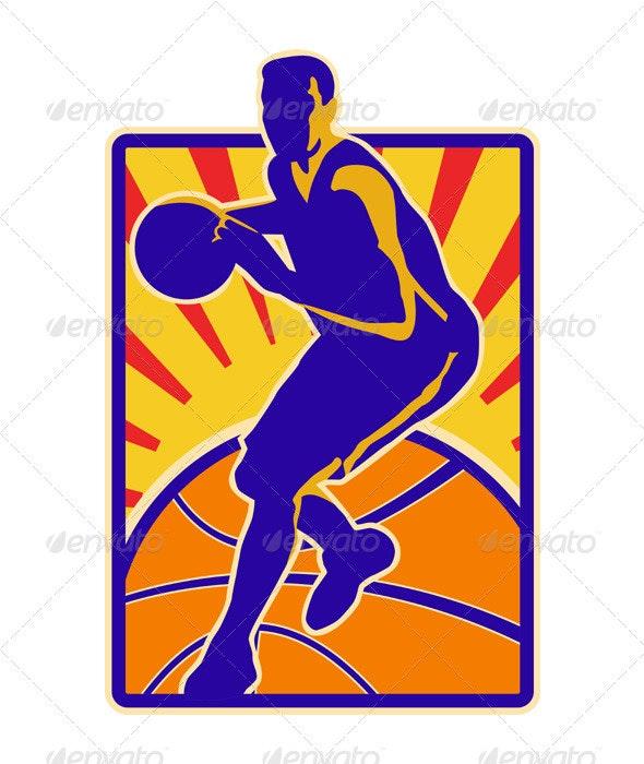 Basketball Player Dribbling Ball Retro - Sports/Activity Conceptual