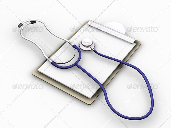 Stethoscope on clipboard - Objects 3D Renders